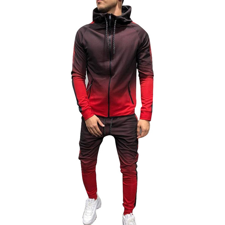 Yihao New Style Zip Jacket Tracksuit 2 Pieces Sweatsuit Printed Mens Track Suits