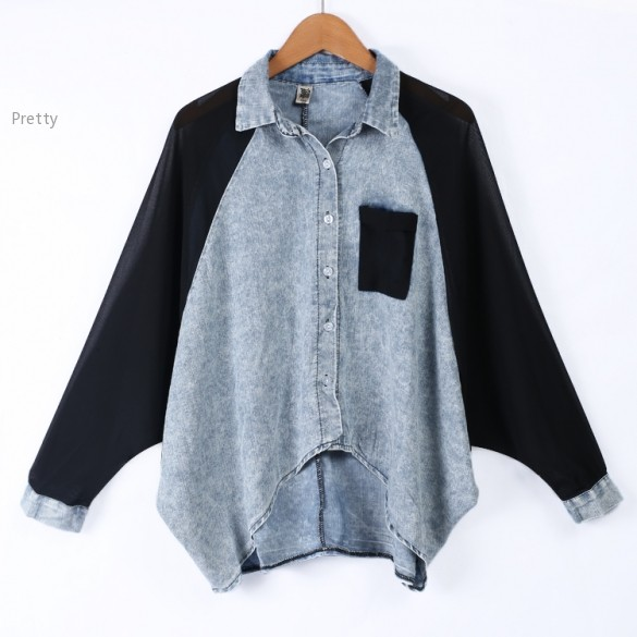 bec7f243 Get Quotations · 2015 Women Shirt Denim Button Irregular Plus Size Batwing  Sleeve Wash Solid Pocket Loose Casual Blouse