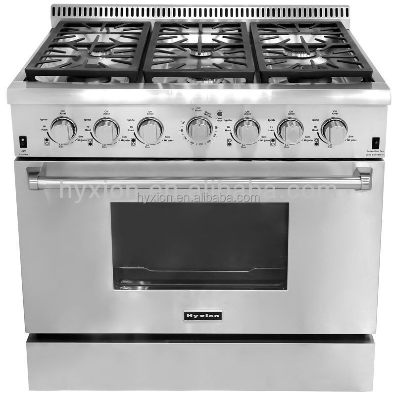 36 inch gas range stainless steel with 122,500 BTU