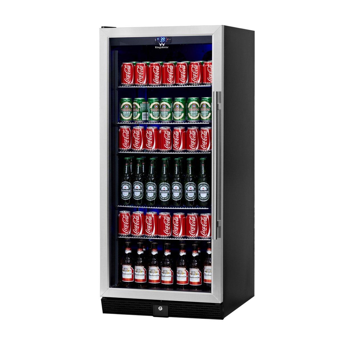 KingsBottle Beverage & Beer Glass Door Cooler- 198.4 Pounds Fridge for 300 Cans or bottles with 5 Chromed Steel Shelves – Ideal Refrigerator for Bars, Restaurants, Game Room with Noise Free Compressor