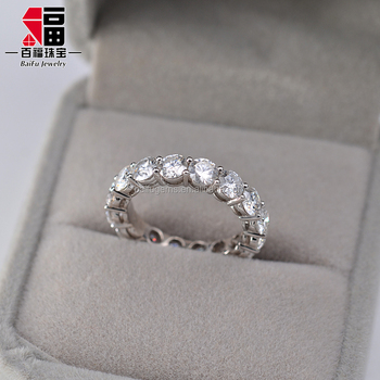 3.5ct round star cut GH color synthetic moissanite AU750 gold Diamond Eternity Ring