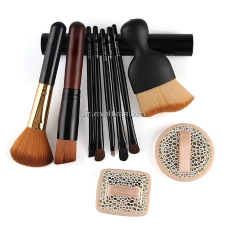 8Pcs Foundation Facial Eye Makeup Brush Comstic Kits with wet powder puffs