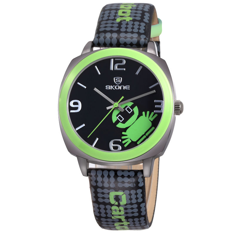 2015 cheaper green color animal leather band children smart watch