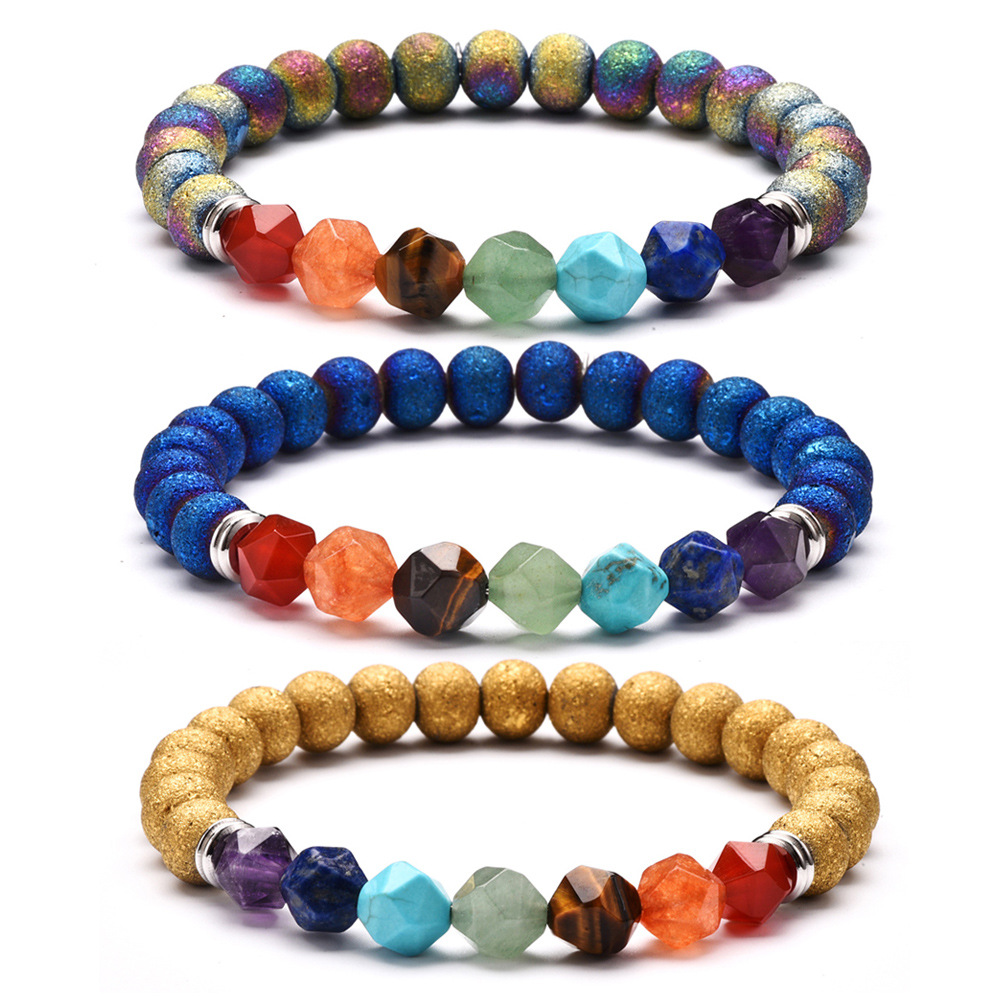 Handmade Jewelry Multi-faceted Natural Beads Stone Stainless Steel Spacer Chakra Bracelets