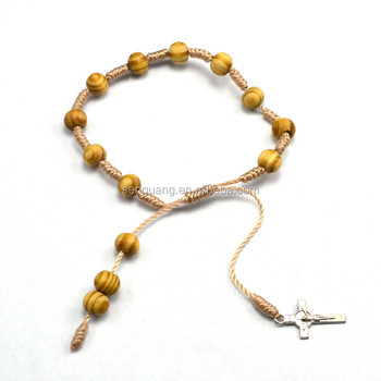Wood Bead Bracelet With Cross Catholic Rosary Twisted Cord