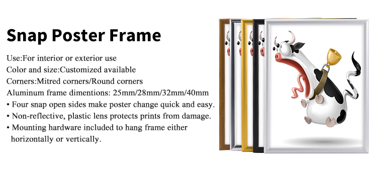 waterproof snap frame 25mm photo frame black clip frame from factory