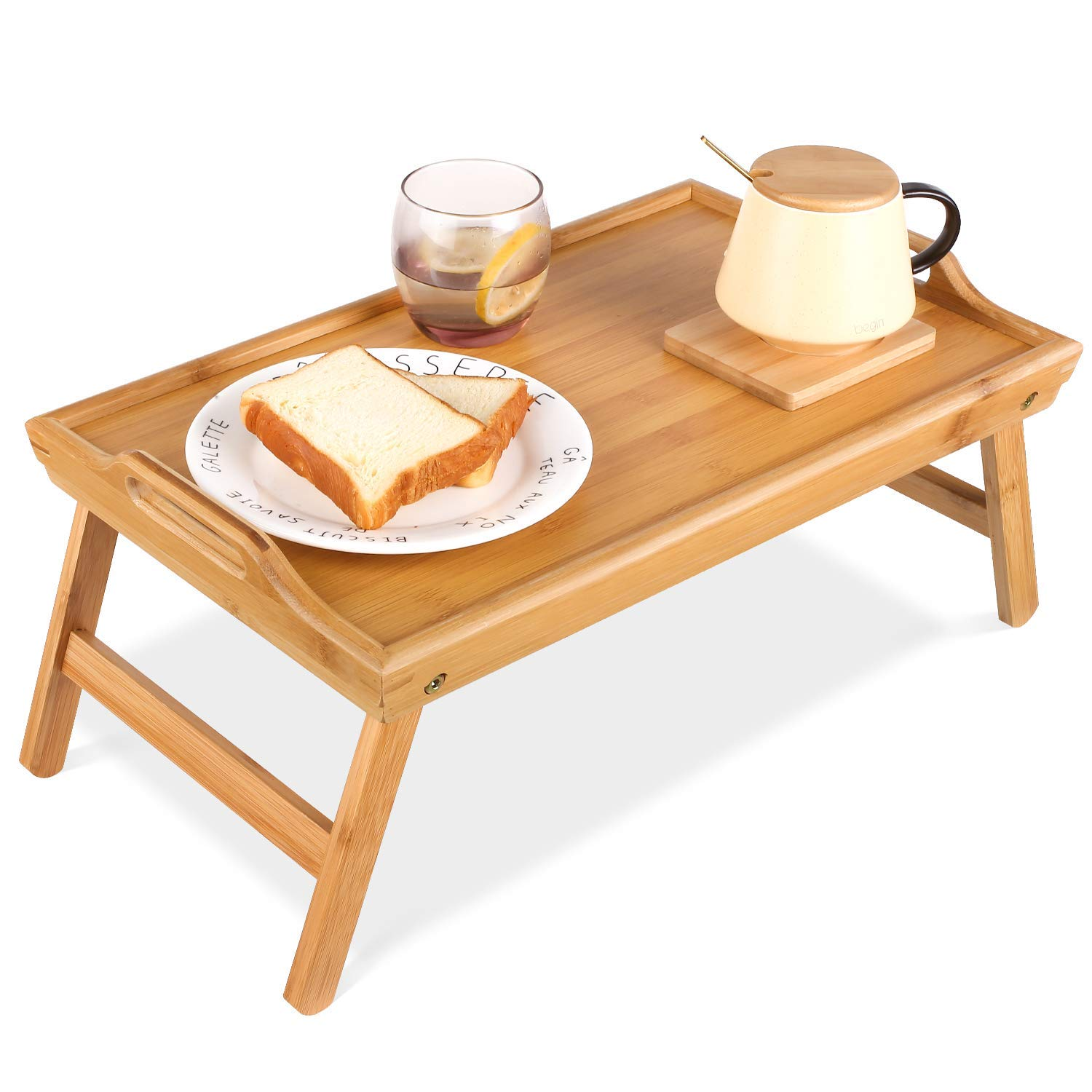 Natural Bamboo Serving Tray Set Bed Tray Breakfast Table With Legs Bamboo Tray Serving