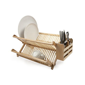 Good Quality Wholesale Multi Purpose Plate Bow Holder With Utensil Holder Bamboo Dish Drying Rack