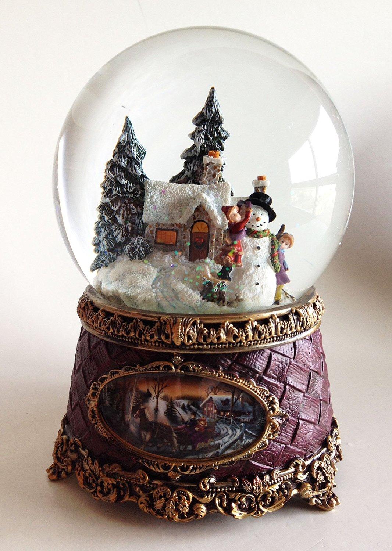 Get Quotations  C2 B7 Snow Globes Snowman With Children Musical Snow Globe Waterglobe Snowglobe