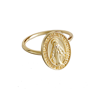 925 Sterling Silver Jewelry Tiny Gold Virgin Mary Ring Adjustable Religious Medal Ring