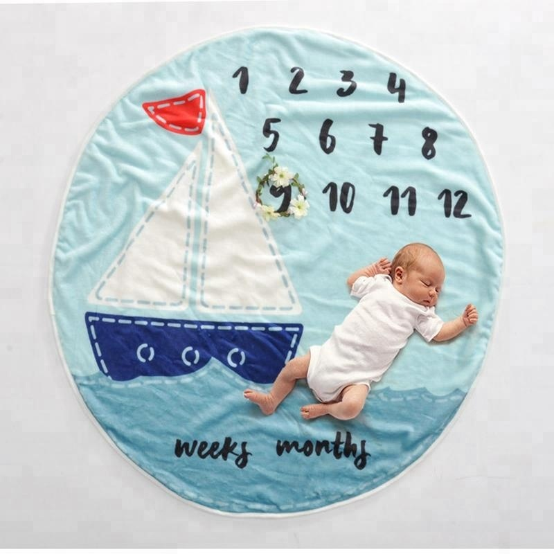 Lovely Round Shape Newborn Letter Background Photography Prop Flannel Fleece Baby Counting Monthly Milestone Blanket