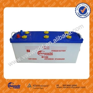 Outstanding JIS Standard N120 Dry Charged Battery Auto Starter battery with Top Quality