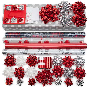 Christmas Gift Sets.Hot Sale Red Silver Design Christmas Gift Printed Wrapping Tissue Paper Set With Bows Ribbons Tags Bag Buy Wrapping Paper Set Christmas Gift