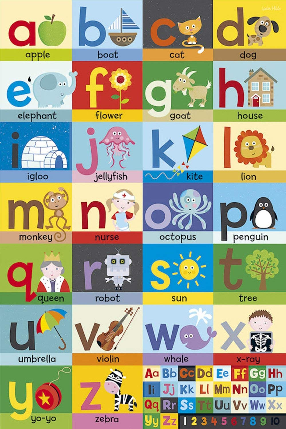 Poster DNOVING Stylish Art Print Alphabet Sign Language Pattern Print Wall Decorative Wall Poster 20-Inch By 30-Inch