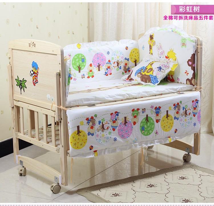 Promotion 7pcs baby bedding set printed baby bed cuna crib bumper bumper duvet matress pillow