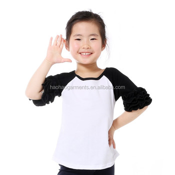 wholesale blank tops baby girls half sleeve icing raglan t-shirts for girls