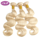 Best quality 10A malaysian hair weaving wholesale 100 human hair extension packaging virgin 613 blonde body wave bundles