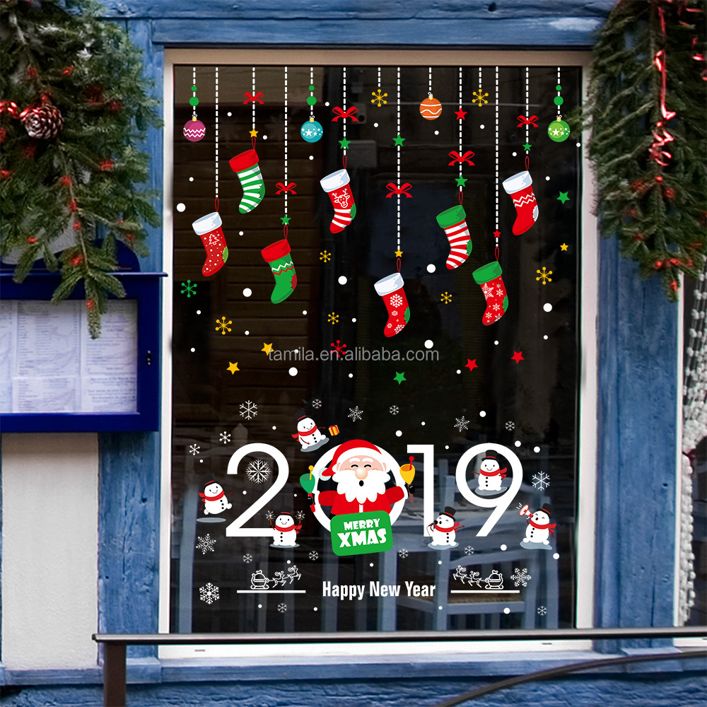 Store Glass Merry Christmas Gift Decorate Display Window Socks Wall Sticker