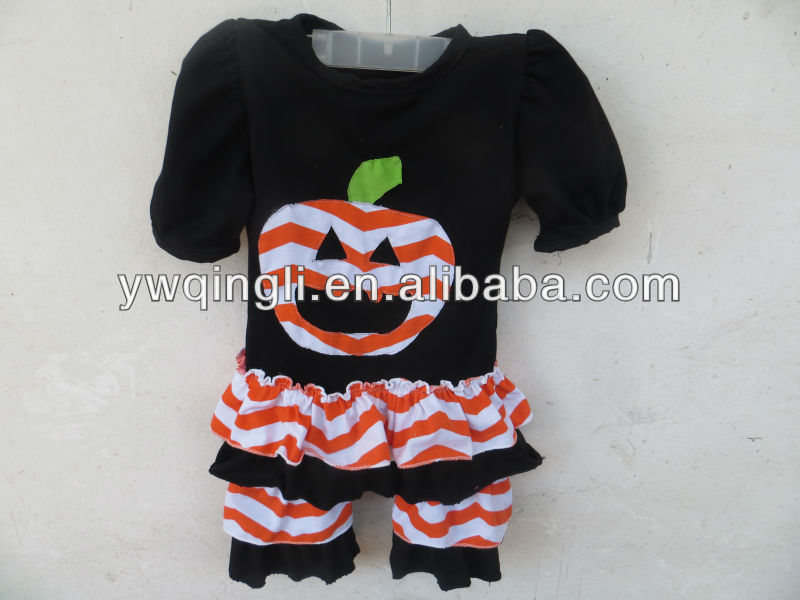 100 cotton fabric Pumpkin top with pants Wholesale clothing Hallowmas costume OU-A133