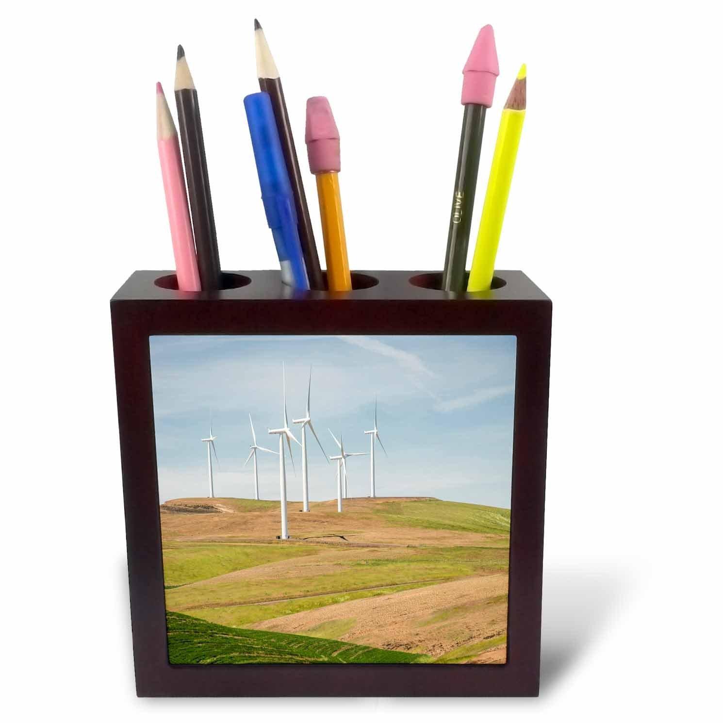 3dRose Danita Delimont - Palouse - Washington State, Palouse, wind turbines near Dodge Junction. - 5 inch tile pen holder (ph_251501_1)