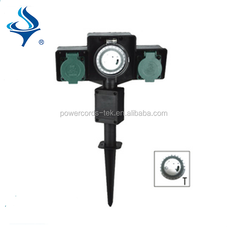 2 safety contact sockets and mechanical timer round ground spike for garden socket,outdoor socket,socket and time switch