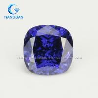 The cushion shape diamond cut tanzanite blue CZ loose stone