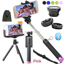 For Samsung GalaxyS5/S4/S3/Note4/3/2/For Moto X/G 6in1 Kit:Bluetooth Remote Camera Shutter Control+Self Monopod+3 Awesome len