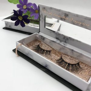 Factory Price Nice Design Marble Pattern Custom Lovely Mink Eyelash Packaging Box With Rose Gold Base For Make Up