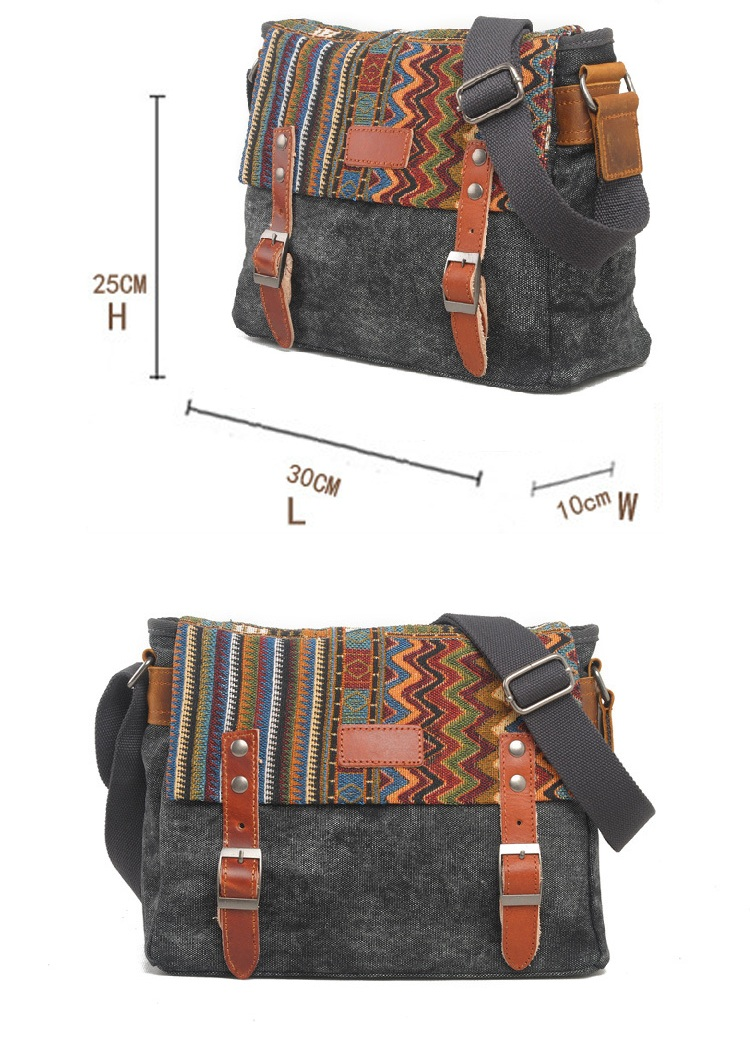 High quality cotton washed casual canvas ladies cross body messenger satchel shoulder bag for women