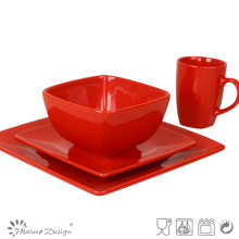 square ceramic stoneware red dinner set