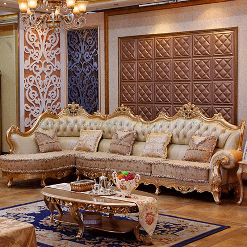 Luxury Living Room Furniture: French Luxury Leather Sofa Combination Of Wood Carving And