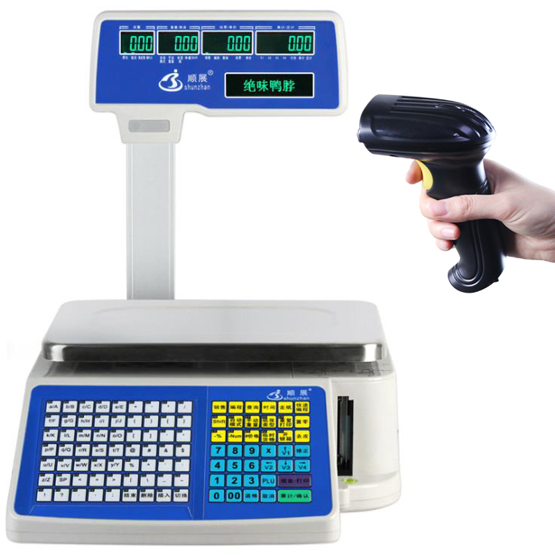 6/15kg/30kg Label Printing Scales Digital Barcode Weighing Scales with Scanner
