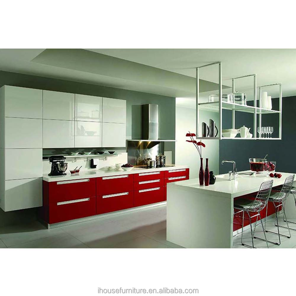 Italian Design Red Lacquer Prefab Kitchen Cabinet In China/Italian Kitchen Cabinet/High Gloss Lacquer Kitchen Cabinet Doors