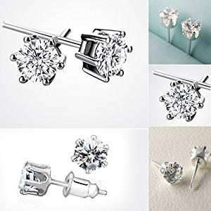 TOOGOO(R) Brilliant Princess Diamond Ear Stud Earrings 18K White Gold Plated
