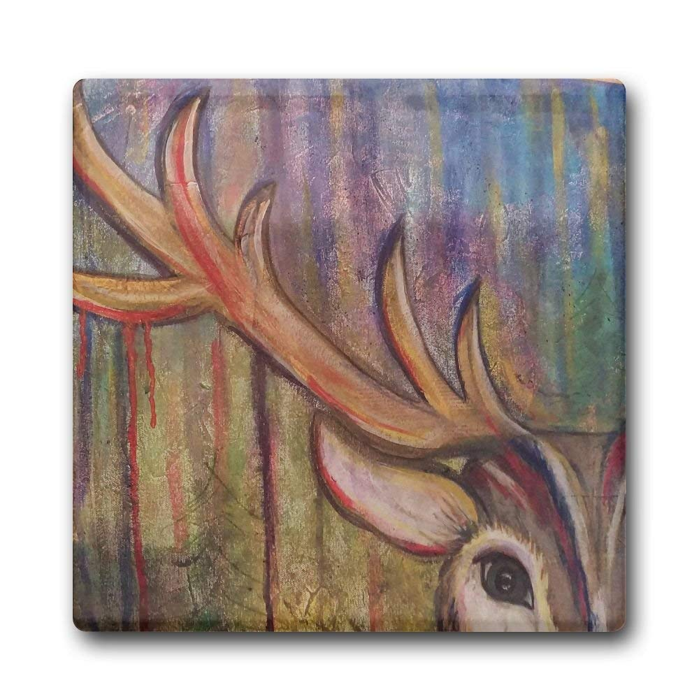 MOLIAN Deer Painting Fashion Square Ceramic Coffee Drink Coasters, Waterproof Non Slip Cup Mats Coasters For Bar