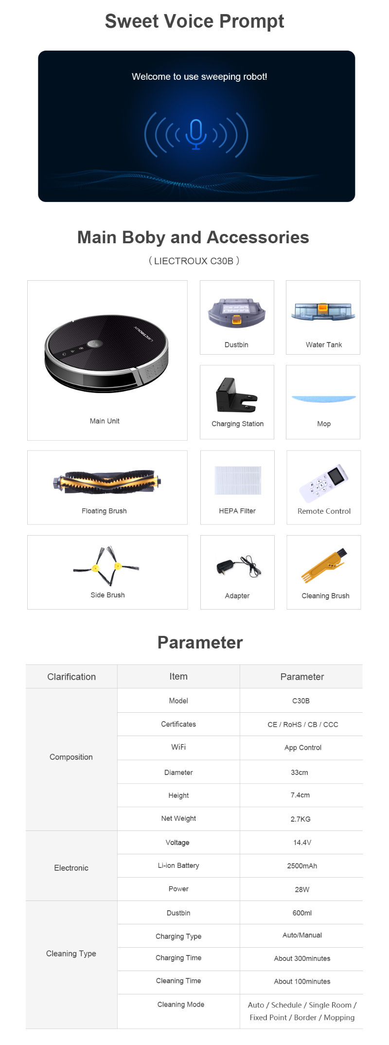 Liectroux C30B robot vacuum cleaner   auto home appliance wifi APP Map navigation Gyro mop