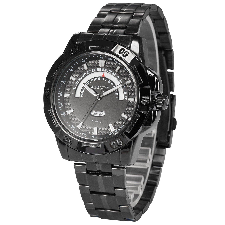 Mix&Rock Agent X Date Day Display Analog Black Stainless Steel Quartz Sport Military Watch