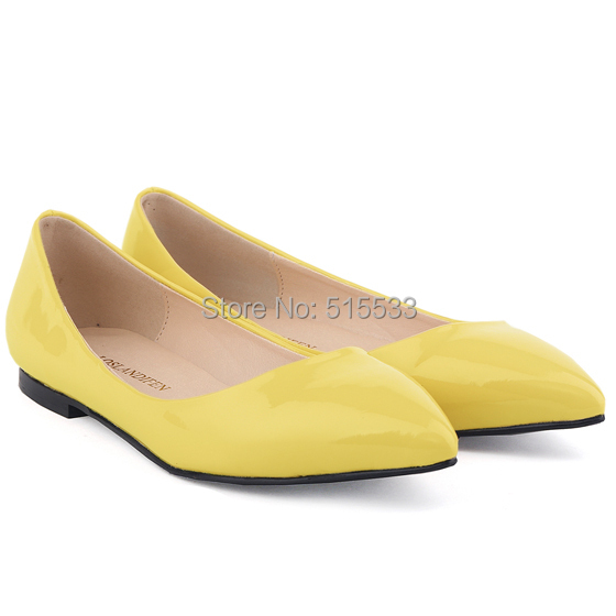 7cc252b26cd Get Quotations · CLASSIC WOMEN PLAIN FLATS YELLOW CUTE GIRLS FAUX LEATHER  PATENT FLATS DOLLY BALLET LADIES  SHOES