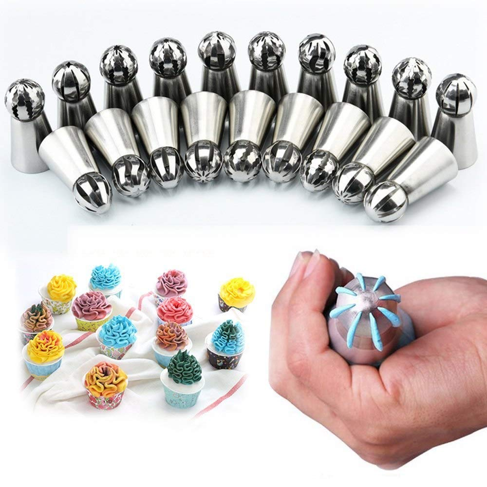 Decorating Cakes Pops Metal Icing 6PCS Pastry Nozzles Icing Piping Tips Sets Stainless Steel Ball Torch Rose Daisy Shape Cream Bakeware Cupcake Cake Decorating