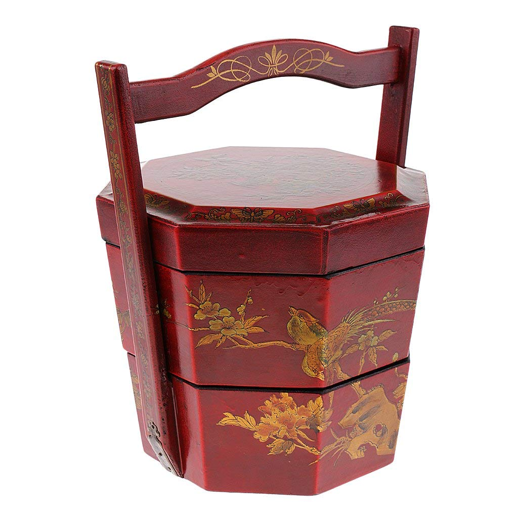 Baoblaze Chinese Retro Style Antique Portable 2 Layers Circular Food Boxes Lunch Box