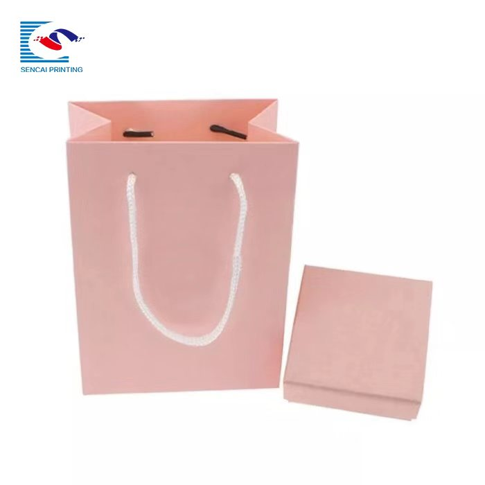 SENCAI customized logo 150g kraft paper bag food  paper bag with twisted