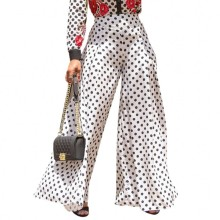 trend polka dot <strong>designer</strong> brand wide leg loose style <strong>women</strong> <strong>pants</strong> casual ladies <strong>pants</strong> YY10174