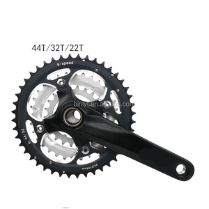 Mountain Bike Crank Set Crank Set Bicycle Toothed Wheel 22/32/44 T Dental Plate Crank Bicycle Set Hollow 9/27 Speed Dental Plate