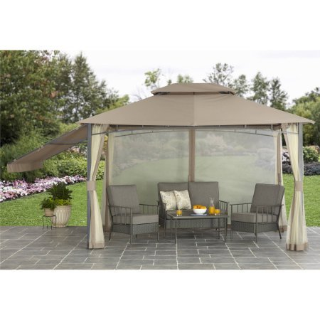 Better Homes and Garden Parker Creek 10' x 12' Cabin Style Gazebo with Adjustable Side