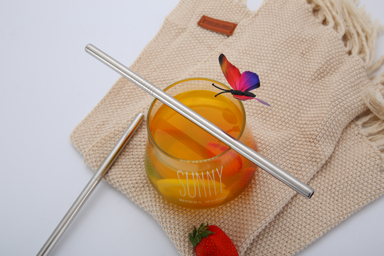 Eco-friendly custom laser logo silver 304 stainless steel straw