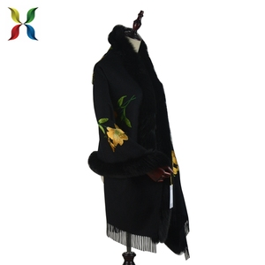 Long Women Fur Cape Shawl Coat with Cap Wool Cashmere Fur Poncho Cloak Parka Winter Collection
