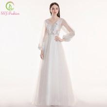 Женское кружевное платье SSYFashion, фиолетовое/розовое платье для выпускного бала с длинным рукавом и треугольным вырезом(Китай)