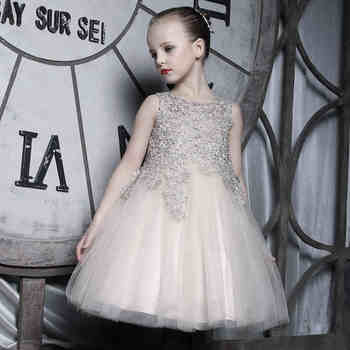 Parent-child Champagne Bubble Dress Girl Wedding Gown Pageant Party ...