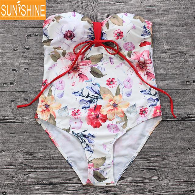 22596ee4630ef Custom Bandeau One Piece Bathing Suits Padded Plus Size Swimsuit