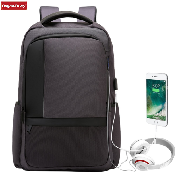 Osgoodway 15.6 In Slim Light-Weight Anti Theft Business Laptop Backpack with USB Port and Earphone Hole
